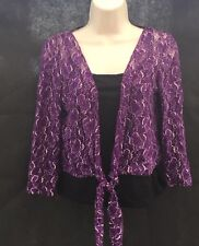 M&S Per Una Purple Lace Shrug Bolero Black Vest Set 2 Piece UK 10 CO37