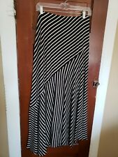 CHICO'S Women's 1 (M 8) Black Beige Striped Rayon Spandex Maxi Skirt