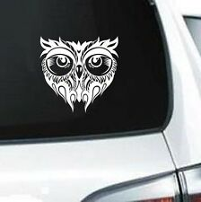 B181 Tribal Owl graphic bird of prey white vinyl decal  laptop car truck van suv