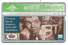 """Phonecard BT - """"PREVENT BURNT DINNERS AND COLD SHOULERS"""" - Excellent Condition"""