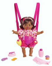 Mattel Little Giggle Mommy Laugh and Love Baby Doll w/ Carrier -African American