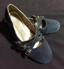 Girls Lands' End Navy Suede Triple Buckle Shoes US 1M EUR 32