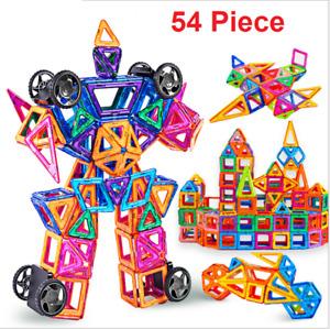 54 Pcs Blocks Magnetic Educational Toys Tiles Building Kids Xmas Gifts DIY UK