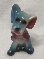 "Vintage 1930s-1940s CHALKWARE CARNIVAL PRIZE Blue Dog Red Ribbon 5.5"""