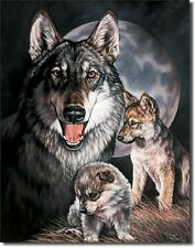 Wolf And Pups TIN SIGN Wolves Metal Poster Art Wall Decor