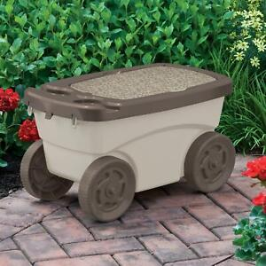 Outdoor Rolling Garden Scooter W/ Wheels & Convenient Pull Strap, Light Taupe