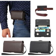 Horizontal Premium Leather Pouch Cover Belt Clip Case For Universal Smart Phone