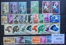 SELLOS DE ESPAÑA AÑO 1957** y 1958** COMPLETOS, NUEVOS SIN HOJAS DE BRUSELAS