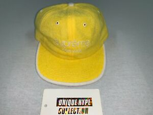 [PREOWNED] SUPREME 2017 S/S TERRY CLASSIC LOGO CAMP CAP BOX HAT 5 6 PANEL YELLOW