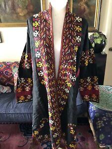 Turkmen Black silk Chapan