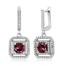 3.51 Ct Round Red Rhodolite Garnet 925 Sterling Silver Dangling Earrings