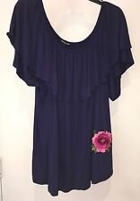 Cha  cha vente Navy Blue Peasant Top Embroidered 2X NWT
