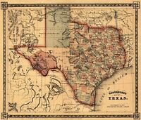 MAP ANTIQUE SCHONBERG 1866 TEXAS HISTORIC LARGE REPLICA POSTER PRINT PAM1199