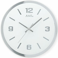 Ams 9322 Wall Clock Quartz Analog Silver round Quiet without Ticking Made of
