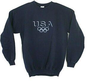 USA Olympic Rings Mens Medium Blue Embroidered Sweatshirt Blue Gildan