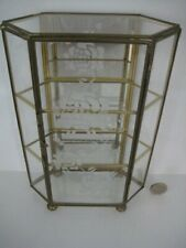 ETCHED GLASS MIRROR BRASS CURIO MINIATURES DISPLAY CABINET CASE SHELF THIMBLE