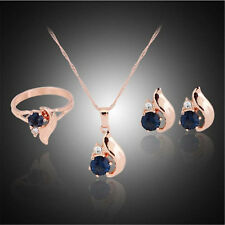 Earring Ring Jewellery sets. Blue Zirconia Pendant Necklace