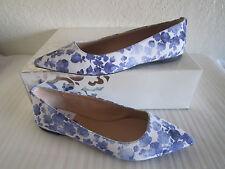 MICHAEL KORS ARIANNA BALLET FLATS BLUE WHITE CANVAS FLOWERS FLORAL Sz 9
