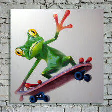 Hand-painted cartoon frog skateboard animal abstract canvas oil painting 60x60cm