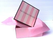 """VICTORIAS SECRET PINK STRIPED GIFT BOX BAG WITH TISSUE PAPER SMALL SIZE 7""""x7""""x3"""""""