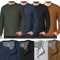 Mens Henley Long Sleeve T-Shirt Thermal Grandad Waffle Knit Warm Winter Cuff Tee