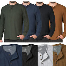 Mens Henley Long Sleeve T-Shirt Thermal Grandad Waffle Knit Warm Winter Cuff Tee