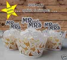 #664. Mr &Mrs Wedding Bridal Shower Edible Cupcake Toppers PRE-CUT black white