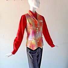 Rainbow Colorful Satin Vest sz XS 0 2 by WHITNEY EVE Jacquard Pearl Buttons NWT