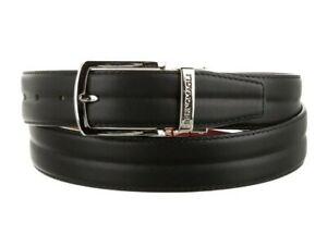 Bruno Magli Men's Genuine Leather Reversible Belt Silver Buckle / Black / Tan