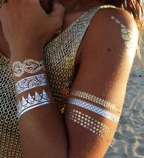 Gold Flash Tattoo Einmal Temporary Klebe Silber Henna Armband Kette Ring Armband
