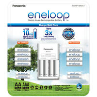 Eneloop Rechargeable Batteries NiMH Pack 8 AA 4 AAA Battery Charger Recharge NEW