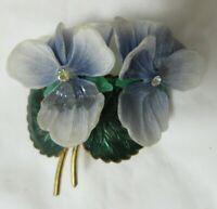 Vintage Goldtone Blue Lucite Green Enamel Leaves Rhinestone Center Flower Brooch