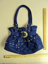 CUTE! Women's Chateau Blue Gold Stones Rhinestones Purse Tote Hand Bag