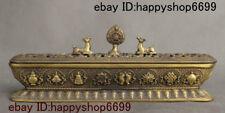 China Buddhism Temple Bronze Deer 8 Auspicious Symbol Incense Burner Censer Box