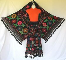 VINTAGE 1960s 70s MEXICAN ETHNIC BOHO HIPPIE SKIRT & SHAWL TASSELS WOOL BLACK