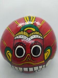 Hand Painted Coconut Half Shell Mask 100% Sri Lankan Colorful Art Wall Hanging