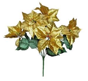 "5-Metallic Gold Poinsettia 20"" Bush Holidays Flower Home Office General Decors"