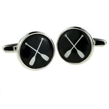 Rowing Oars Design Round ROWER TEAM PLAYER CUFFLINKS CHRISTMAS Present GIFT BOX