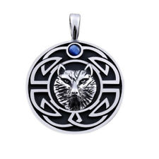 Wolf Gothic Celtic GOT Rock Blue CZ Pendant Necklace NEW Silver Stainless Steel