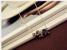 Elephant Family Stroll Design Fashion Women Charming Crystal Chain Necklace