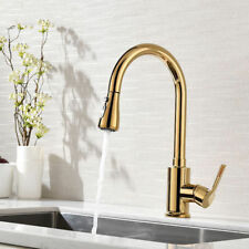 Modern Single Hole Handle Kitchen Sink Faucet Pull Out Sprayer Swivel Spout Gold