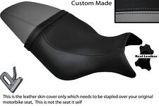BLACK & GREY CUSTOM FITS BUELL CYCLONE M2 99-02 LEATHER DUAL SEAT COVER