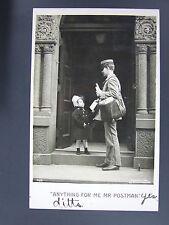 Anything for me Mr Postman Young Girl Real Photo Postcard 1907 Robert McCrum DPO
