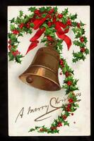 1908 signed clapsaddle red bow holly gold bell christmas postcard
