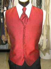 Mens Formal Vest Red Paisley Size M Matching Windsor Tie