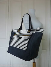 FURLA Reversible Black/Gray Denim Tribe Canvas Tote Bag $328  - Made in Italy