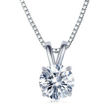 CZ Necklace 2 Carat AAA Brilliant Cut Solitaire Colorless 2ct White Gold Plated!