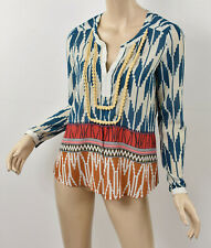 Anthropologie MAEVE Tribal Ikat ROHANA EMBELLISHED HENLEY Peasant Top 0 XS