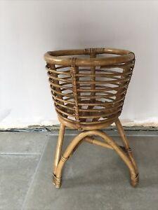 "Vintage Mid Century Bamboo & Cane Plant Pot Holder Planter Boho Tiki 19"" X 12"""