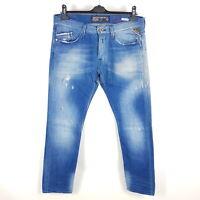 Replay Jeans Waitom Herren W34 L32 Blau Tapered Distressed Stretch